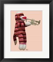 Framed Sock Monkey Playing Trumpet