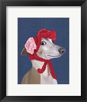 Framed Greyhound with Red Woolly Hat