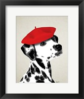 Framed Dalmatian With Red Beret