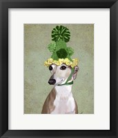 Framed Greyhound in Green Knitted Hat