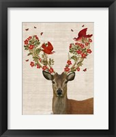 Deer and Love Birds Framed Print