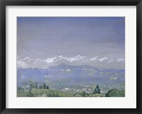 Framed Mountain Landscape with a Village in the Foreground