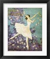 Framed Design for a Poster of Anna Pavlova Gouache