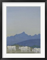 Framed Three Pairs of White Bulls in Front of the Mountains