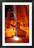 Framed Sun Shining Beam of Light onto Canyon Floor, Upper Antelope Canyon