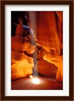 Framed Sun Shining Beam of Light onto Canyon Floor, Upper Antelope Canyon