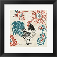 Toile Rooster I Framed Print