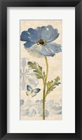 Watercolor Poppies Blue Panel II Framed Print