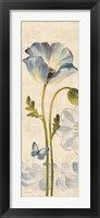 Framed Watercolor Poppies Blue Panel I