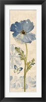 Framed Watercolor Poppies Blue Panel II