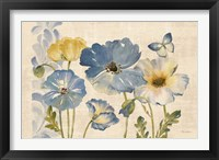 Framed Watercolor Poppies Blue Landscape