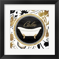 Calm Gold Floral Bath Framed Print