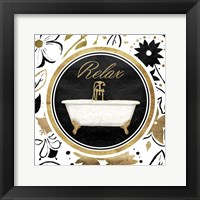 Framed Relax Gold Floral Bath