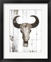 Framed Bull Skull Brown