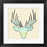 Framed Deer Teal Green