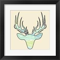 Framed Deer Teal Green