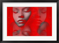 Framed Red Beauty Mirrored