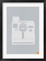 Framed White Polaroid Camera