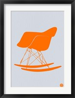 Framed Orange Eames Rocking Chair