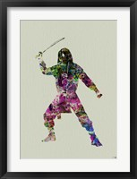 Ninja Watercolor 2 Framed Print
