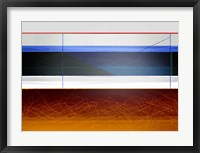 Framed Abstract Blue and Bright Brown