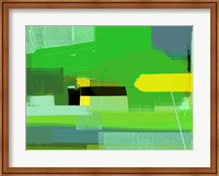 Framed Green and Brown Abstract 6