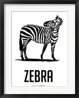 Zebra Black Framed Print