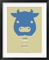 Blue Cow Multilingual Framed Print