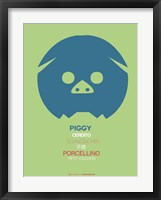 Blue Piggy Multilingual Framed Print