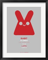 Red Rabbit Multilingual Framed Print