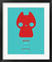 Framed Red and Blue Kitty Multilingual