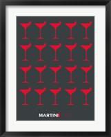 Framed Martini Lover Red & Grey
