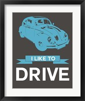 Framed I Like to Drive Beetle 3