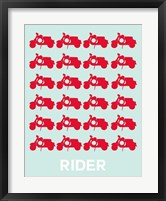 Framed Vespa Rider Red
