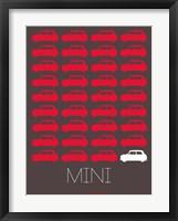 Framed Red Mini Cooper