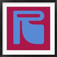 Framed Letter R Blue