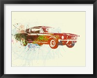 Framed Ford Mustang Watercolor