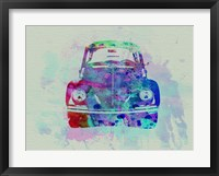 Framed VW Beetle Watercolor 2