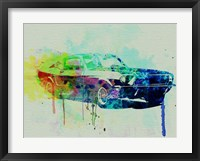 Framed Ford Mustang Watercolor 2
