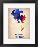 Framed Los Angeles Watercolor Map 1