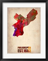 Framed Philadelphia Watercolor Map