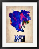 Framed Tokyo Watercolor Map 1