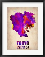 Framed Tokyo Watercolor Map 2
