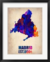 Framed Madrid Watercolor Map