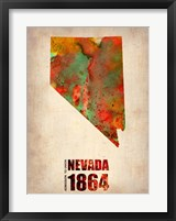 Framed Nevada Watercolor Map