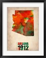Framed Arizona Watercolor Map