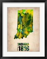 Framed Indiana Watercolor Map