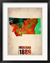 Framed Montana Watercolor Map