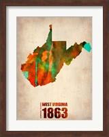 Framed West Virginia Watercolor Map