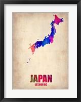 Framed Japan Watercolor Map
